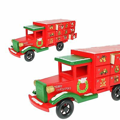 CHRISTMAS XMAS WOODEN ADVENT CALENDAR 36CM TRUCK HOME SANTA FESTIVE DECORATION