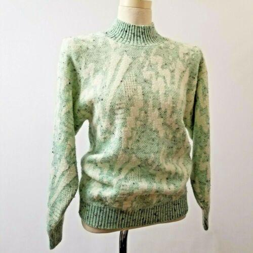 Vintage 80s Diane Von Furstenberg DVF Pastel Sweater M L Turtleneck Knit Green