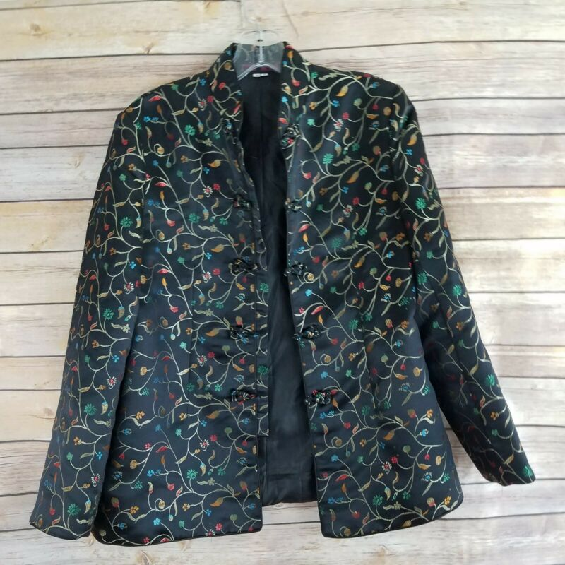 PBL Womens Small Chinese Asian Floral Satin  Jacket Black w/ Colorful Flowers