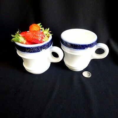 2 Mellowed Brulots, French Coffee Bistro Cup, Blue White, Espresso Mugs,Ironstone