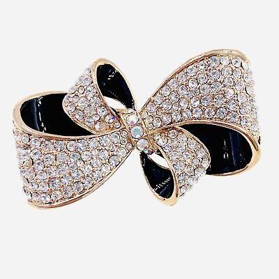 USA NEW PEARL BOW BROOCH PIN RHINESTONE CRYSTAL Gemstone Elegant Black Gold #54