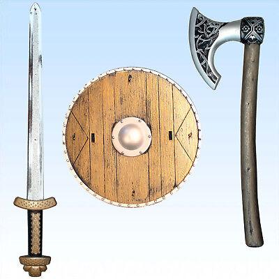 Wikingerset für Kinder Schwert Schild Axt  Kostüm Wikinger Vikinger Wikingeraxt - Viking Schild Kostüm