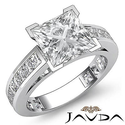 Cathedral Prong Channel Setting Princess Diamond Engagement Ring GIA F VS2 2.2Ct