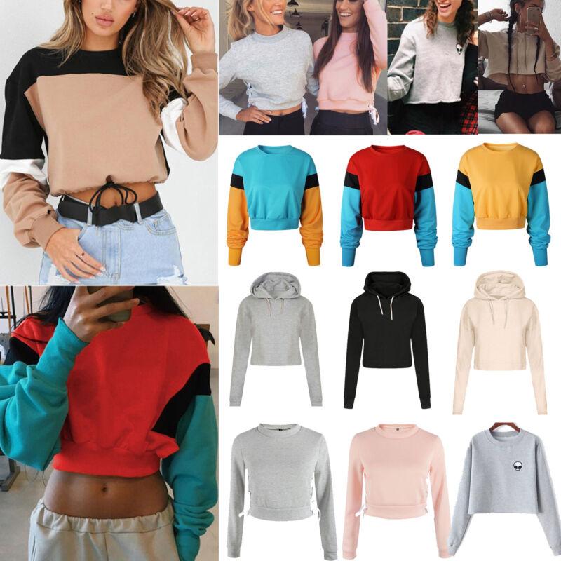 Women Hoodie Jumper Sweatshirt Sweater Casual Crop Top Coat