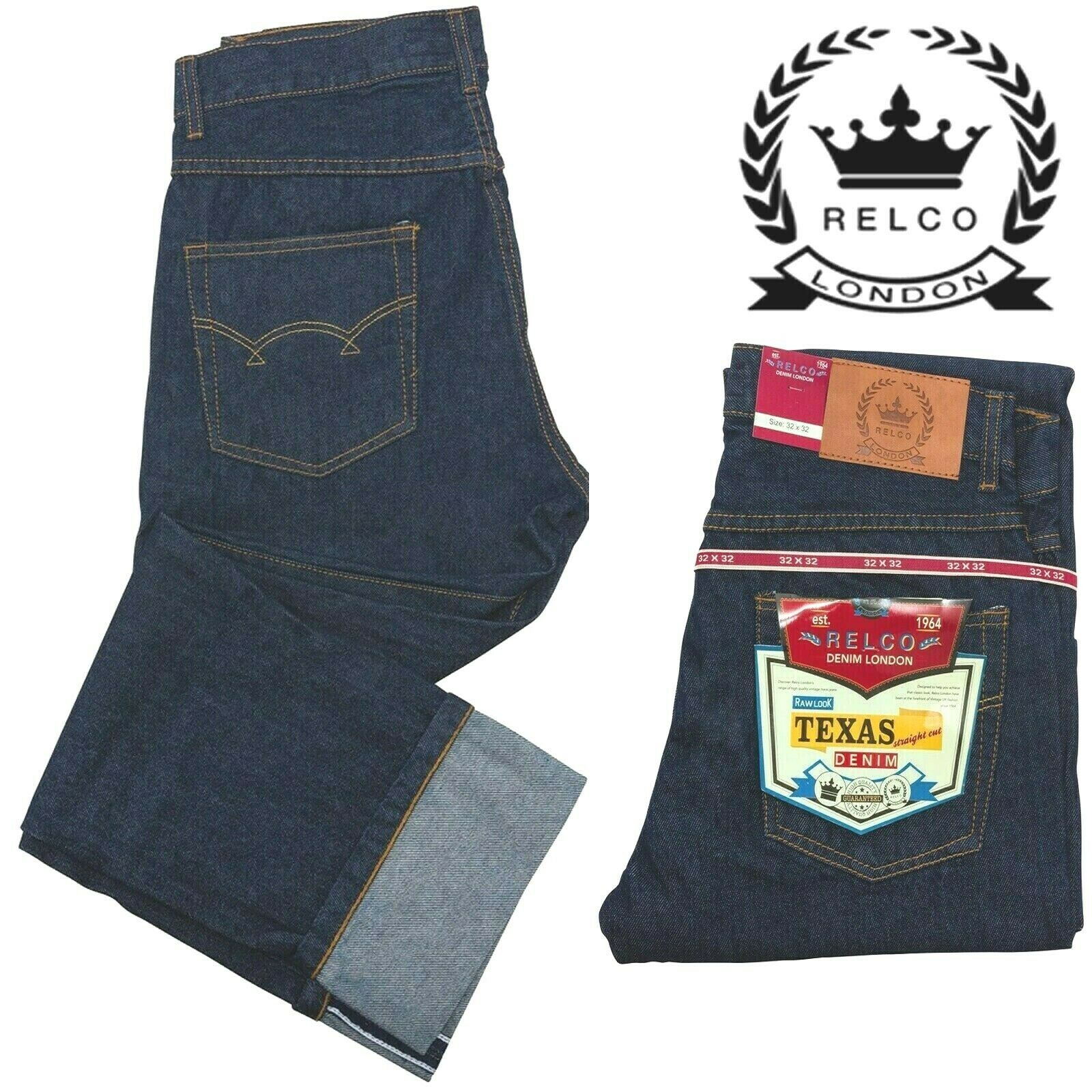 Relco Men's Indigo Denim Rockabilly Biker 14oz Western Texas Straight Leg Jeans