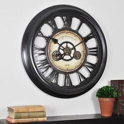 Rustic Gear Wall Clock Large Round Industrial Home Decor Metallic Black Finish