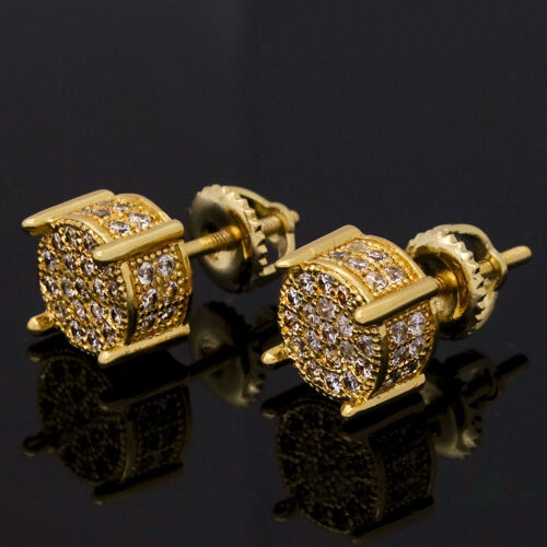 Mens Gold Plated Cz Micropave  Earring Stud Round Hip Hop