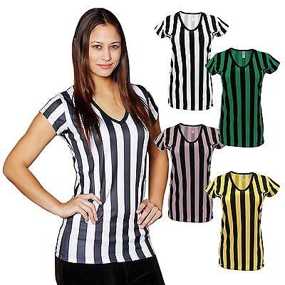 Mato & Hash Womens Deep V-Neck Ref Shirt Bar Referee  wait staff top -