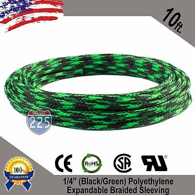 Green Color Length 10FT 3//4 PET Expandable Braided Sleeving