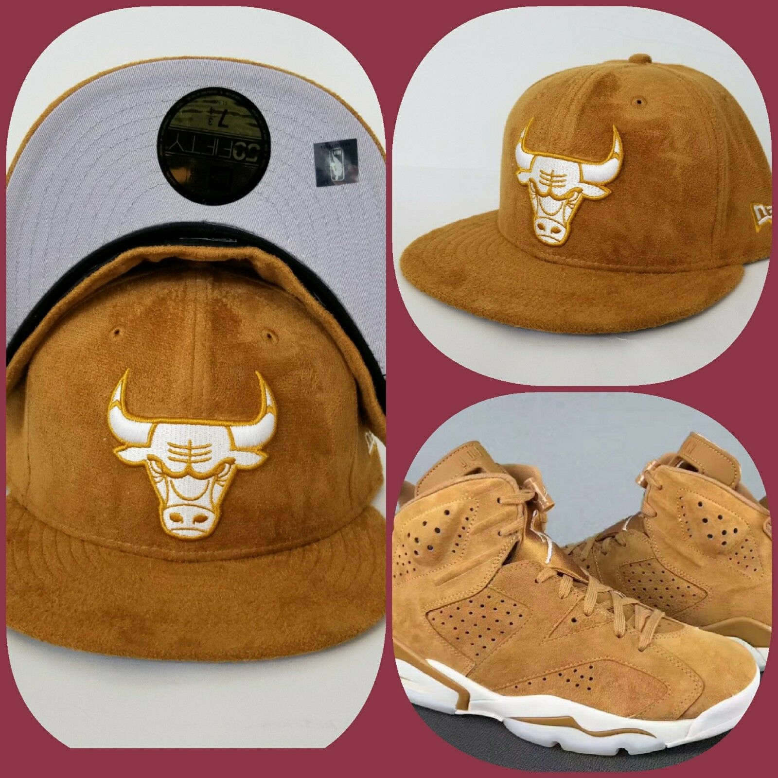 d16293bd570e Details about New Era Suede Chicago Bulls fitted hat Jordan 6 Wheat Golden  Harvest