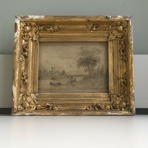 Antique 19thC Silk Work Needlework & Pencil Drawing Picture Gold Gilt Wood Frame