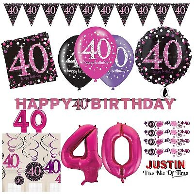 40th PINK Celebration Birthday Party Supplies Balloons Tableware & Decorations (40th Birthday Party Supplies)