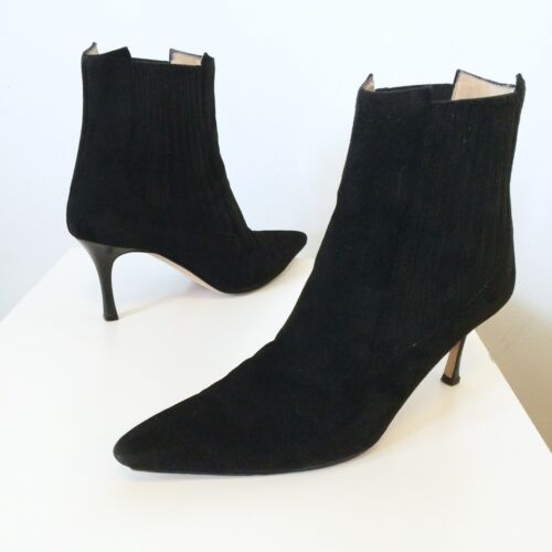 MANOLO BLAHNIK Black Suede Leather Heels Pull-On Booties 9.5 10.5 Ankle Boots