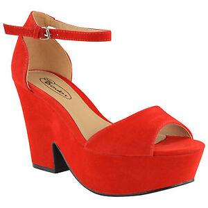Ladies Womens High Mid Heel Platform Flatform Ankle Strap Wedge Shoe Sandal Size
