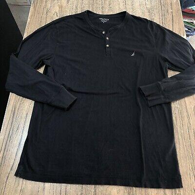Nautica Mens LS Black Henley Tee Shirt Size L #15911