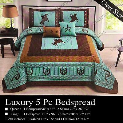- Western Star Cowboy Horse Horseshoe Quilt Bedspread Comforter Shams 5 Pcs Set