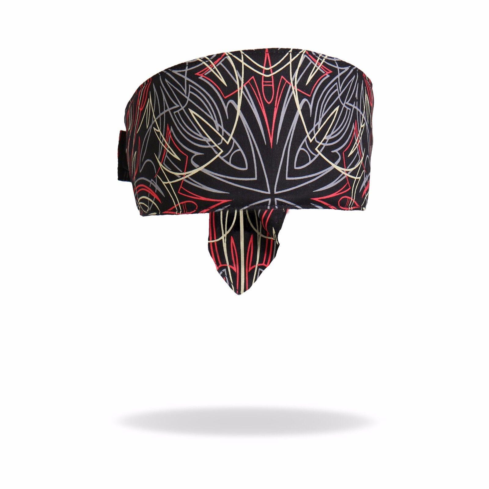 Pinstripes Black Red Cream Grey Biker Headband Bandanna Swea
