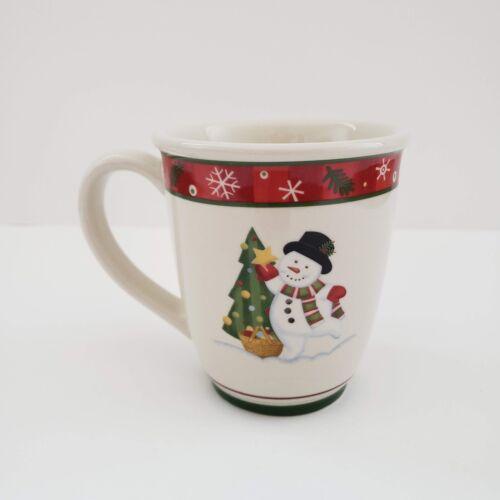 "Longaberger Pottery Bluster the Snowman Mug / Cup Christmas Tree 4 1/4"" tall"