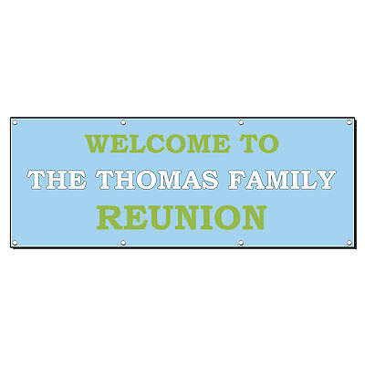WELCOME TO FAMILY REUNION CUSTOM PERSONALIZED Banner Sign 2' x 4' w/ 4 Grommets](Family Reunion Banners)