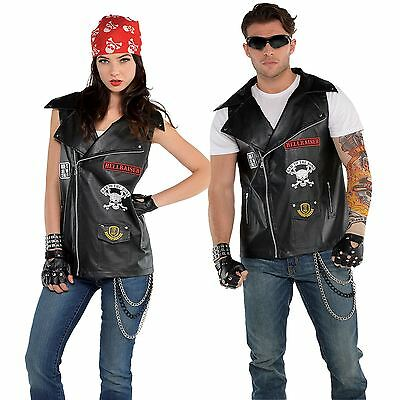Unisex Badass Biker Vest Rocker Leather Patches Rider Anarchy Gang Fancy Dress](Bad Ass Halloween Costume)