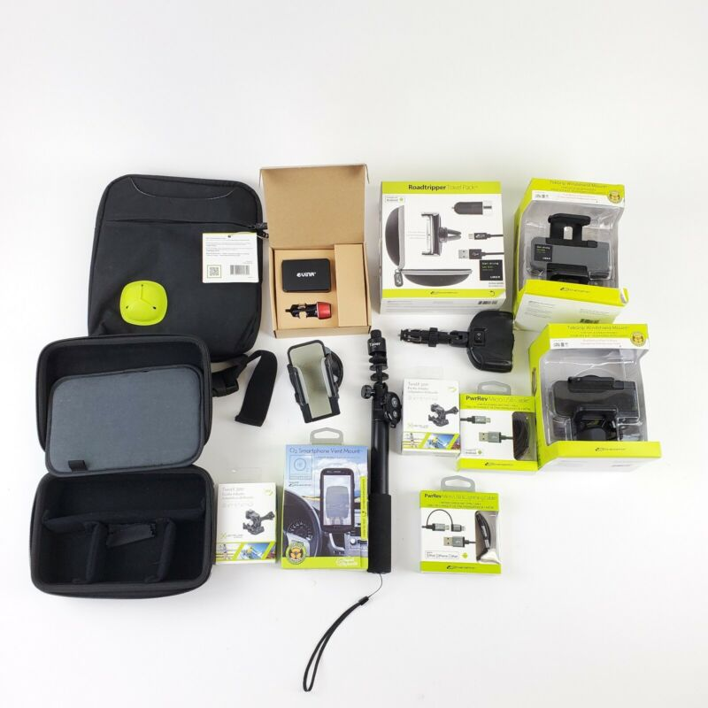 NEW Electronics Lot of 14 Phone Camera Bags & Mounts USB Lightning/Micro Cables