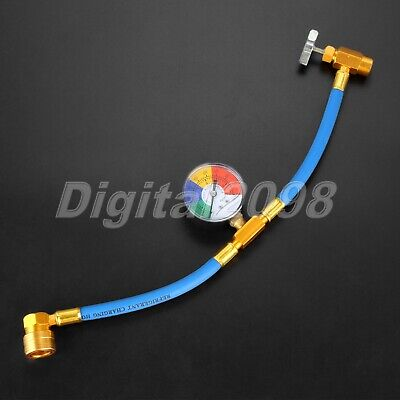 Air Conditioning Refrigerant R134A Charge Charging Hose Pressure Gauge 1/2