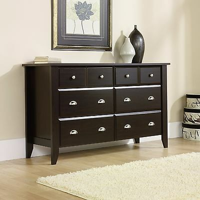 Dresser Chest 6 Drawer Extra Deep Storage Espresso Finish Bedroom Cabinet Wood