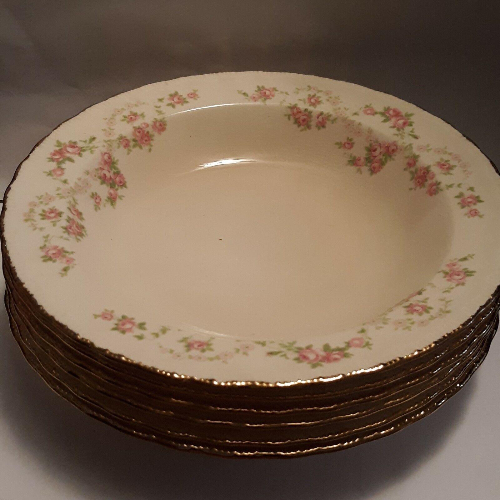 Set Of 4 Vintage POPE GOSSER Florence Soup Bowls Gold Rim W/Pink Flowers 7 7/8  - $11.99