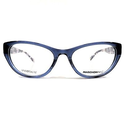 MARCHON NYC Downtown Montgomery Eyeglasses RX Frame 412 Navy Crystal 54-18-140
