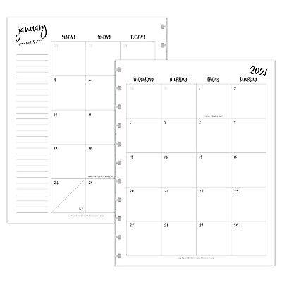 Betternote 2021 Monthly Calendar Refill For Tul Levenger Arc Happy Planner Iwp
