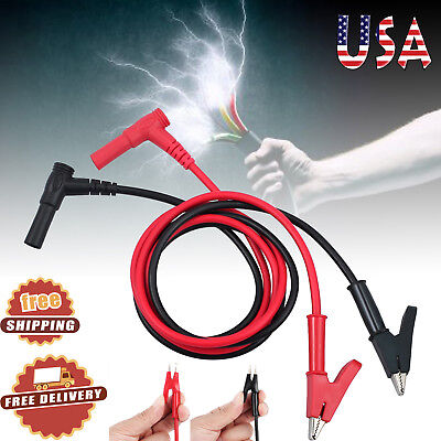 Multimeter Heavy Duty Banana Plug To Alligator Clip Test Hook Probe Cables Us