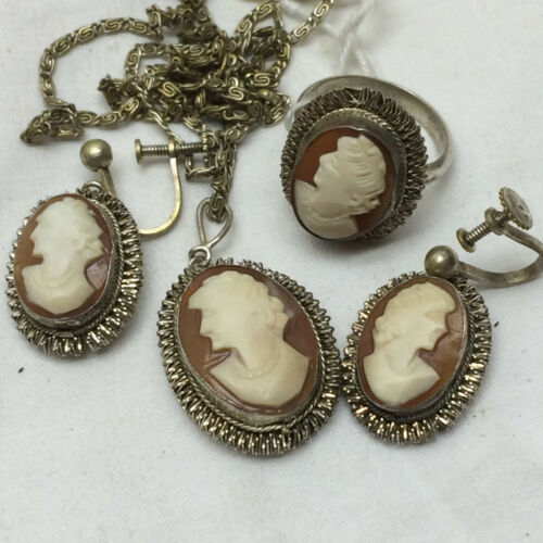 Victorian Hand Carved Cameo Set Ring Necklace Screwback Earrings Left Facing