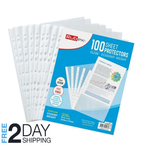 100 Sheet Protectors, Holds 8.5 x 11 inch Sheets 11-Hole, Acid-Free