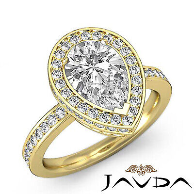 Circa Halo Pave Pear Shape Diamond Engagement Ring GIA Certified G SI1 2.05 Ct 6