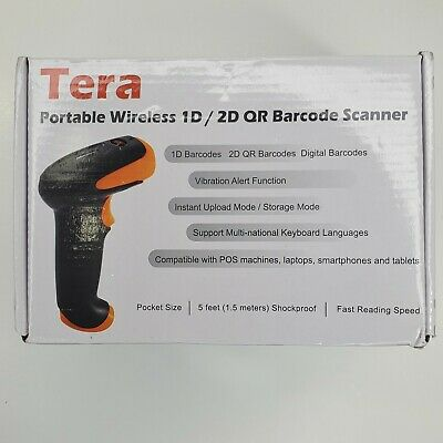 Tera Portable Wireless 1d2d Qr Barcode Scanner And Stand Holder New