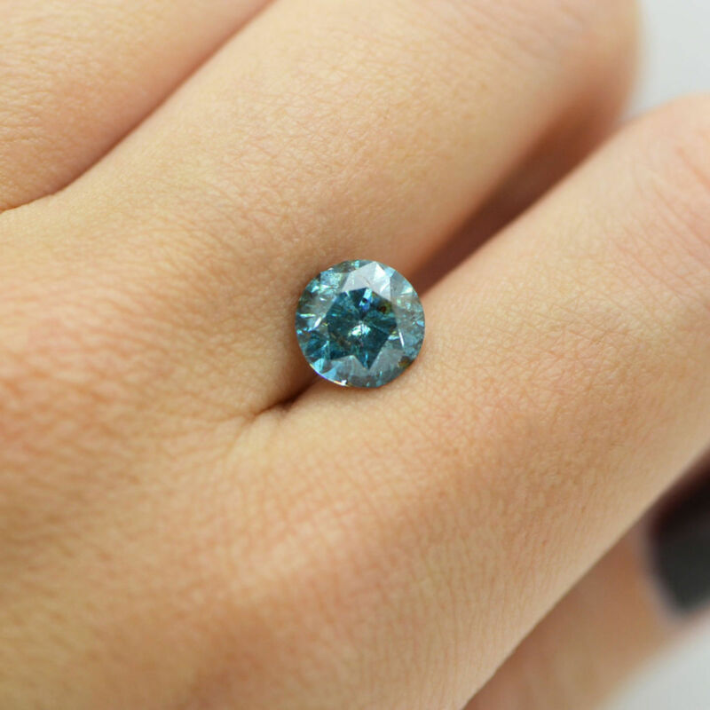 2.55 Carat Blue Color Round Shape I1 Natural Loose Enhanced Diamond For Ring