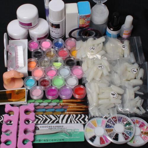 Nail Art DIY Full Set Kit Acrylic Glitter Powder Primer Tips