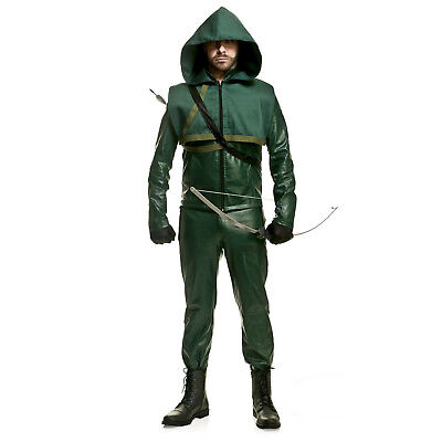 Men's DC Comic Green Arrow Oliver Premium Halloween Cosplay Costume Jacket Pants - Halloween Costumes Green Arrow