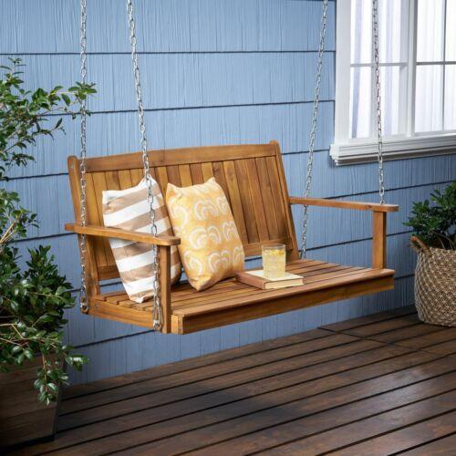 Lilith Outdoor Aacia Wood Porch Swing Home & Garden