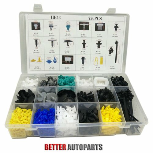 Car Parts - 730Pcs Car Body Plastic Push Pin Rivet Fasteners Trim Moulding Clip Assortments