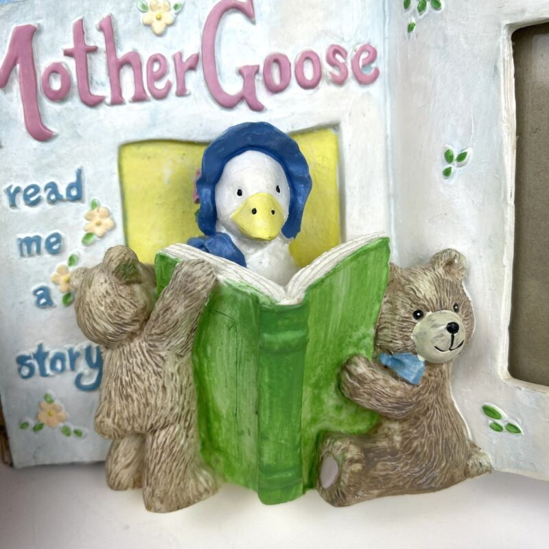 """Mother Goose Picture Frame Story Book 2x3"""" Baby Photo Nursery Room Vtg Burnes"""
