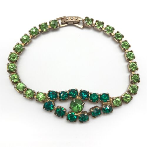 Vintage Sparkly Green Rhinestone Bracelet
