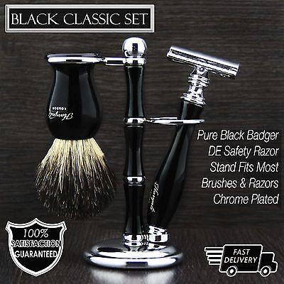 Best Shaving Gift Set For Men Black Badger Brush DE Safety Razor with Stand  (Best Set With Stands)
