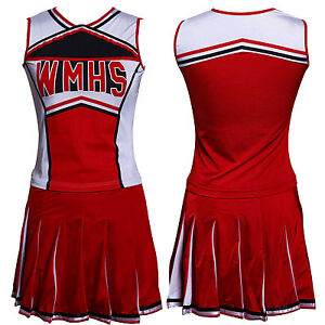 Glee Style Cheerleading Varsity Cheerleader Cheerios Costume + Pom Poms