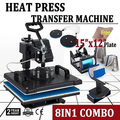 8 In 1 15 X 12 Heat Press Transfer Machine Sublimation T-shirt Mug Hat Cap