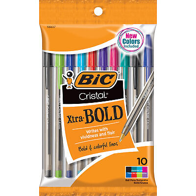 Bic Cristal Xtra Bold Ballpoint Pen 1.6mm Medium Point Assorted Colors 10-co