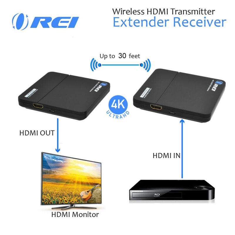 Orei Wireless HDMI Extender Transmitter & Receiver Dongle Up to 4K Upto 30 Feet