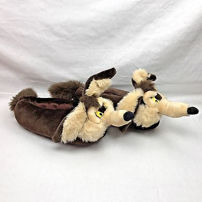 Vtg 1996 Warner Bros Wile E Coyote Plush House Slippers Shoes Adult L Wylie