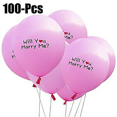Will You Marry Me Balloons (100 ct 12 inch Pink Latex Balloons with Will you Marry)