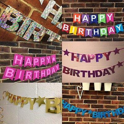 PERSONALISED HAPPY BIRTHDAY PARTY BANNER 1st 13th 18th 21st WITH NAME*HUGE RANGE ()